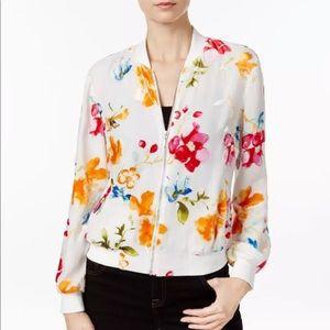 🌸I.N.C White Floral Velvet Zip up Jacket